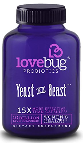 LoveBug Probiotics ♥︎ Yeast Is A Beast - Multi-Strain Probiotic, Cranberry and D-Mannose Supplement for Women. 10 Billion CFU. Delayed Release, Gluten Free Tablet. 30 Day Supply