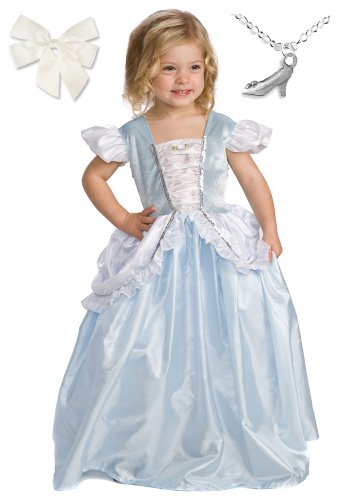 Cenicienta Princesa traje con Lazo para el cabello y el collar de Wondercharms - talla MEDIUM (3-5)