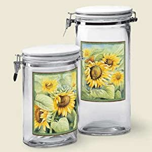 2 country sunflower kitchen canister set