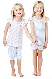 2 Pack Pure Cotton Striped & Floral Pyjamas