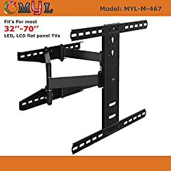 MYL Imported Swivel Tilt Heavy Duty Dual Arm Full Motion TV Wall mount for LCD/LED Plasma TVs upto 32 to 70 inch for flat wall with VESA upto 600 MM x 400 MM MYL-M-467
