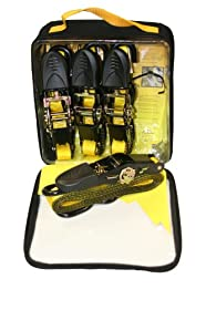 """Everest S41103 Yellow 1"""" x 10' Ratchet Tie Down Strap with S-Hook, (Pack of 4)"""