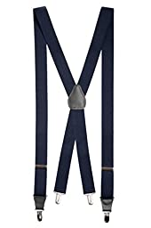 Mens Elastic X-back Adjustable Clip-on Suspenders With Leather Trim - Navy (Tall, 54\