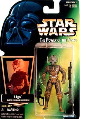 Star Wars 1997 Power of The Force Green Card 4-Lom with Pistol & Rifle MOC [Toy]
