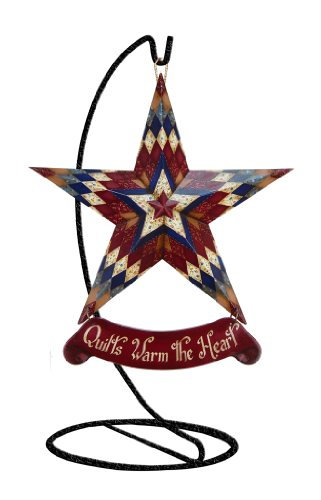 Millwork Engineering Sally's Quilt - Mini Star w/ ornament stand , 6'' X 5'' Resin Star w/ banner, by The Craft Room, Model # 10027