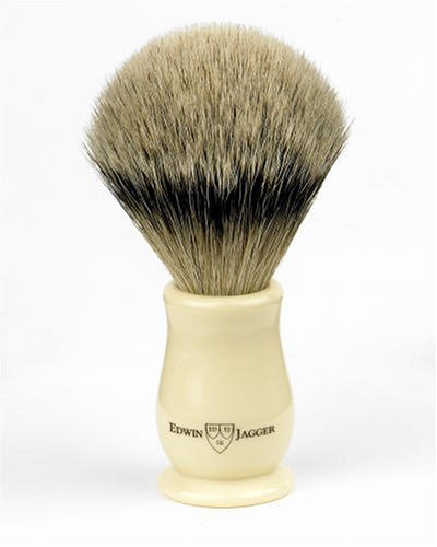 Edwin Jagger Imitation Ivory Chatsworth Shaving brush - silver tip badger grade