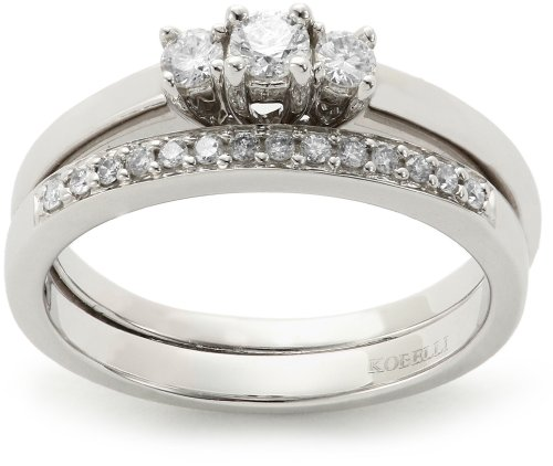 Kobelli 2 and 5 Cttw Three Stone Round Diamond Wedding Set Rings