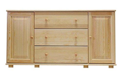 Dresser solid natural pine wood 047 - Dimensions 78 x 156 x 42 cm (H x B x T)