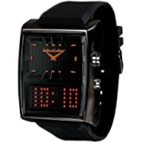 Black Dice Men's Duo Project Watch BD 049 04 With Dual Time Display Analogue, a Orange LED Display and Stainless Steel Oversized Case With PU Strap