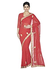 Oomph! Georgette Gota Pati Saree With Blouse Piece
