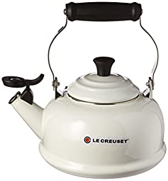 Le Creuset Enamel-on-Steel Whistling 1-4/5-Quart Teakettle, White