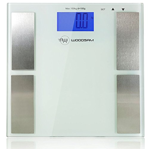 Woodsam Personal Body Fat Digital LCD Display Bathroom Weight Scale 396lbs/180kg