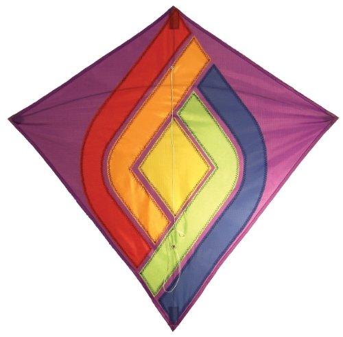 In the Breeze Rainbow Curves Diamond Kite, 30-Inch