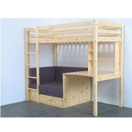 Thuka Hochbett, 90×200 Bett natur inkl. Matratze grau und Lattenrost online kaufen