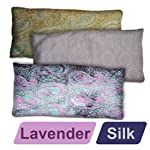 YogaAccessories (TM) Deluxe Silk Eye Pillow (Lavender) – Turquiose / Gold