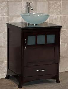 24 Bathroom Vanity Solid Wood Cabinet Black Granite Top Vessel Sink TR9