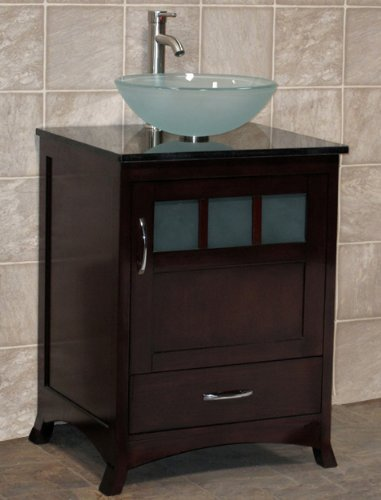 Awesome  Bathroom Vanity Solid Wood Cabinet Black Granite Top Vessel Sink TR