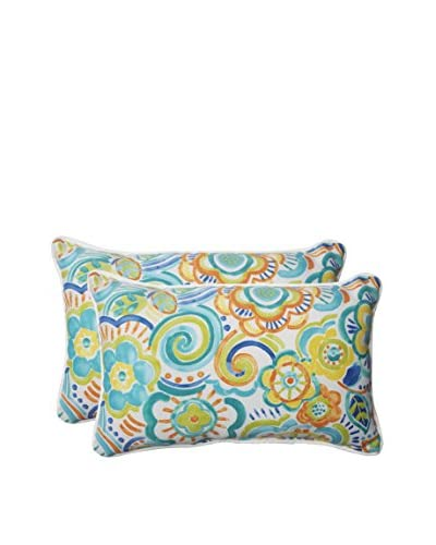 Pillow Perfect Set of 2 Indoor/Outdoor Bronwood Caribbean Lumbar Pillows, Multi