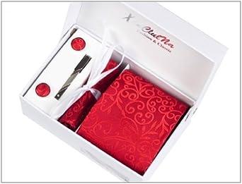 Motif fleurs rouges Ensemble Cravate d'homme , Mouchoir , épingle et boutons de manchette coffret cadeau