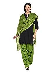 Stylenmart Women Cotton Solid Full Patiala Salwar Dupatta Set (Stmapa078609 _Green _Free Size)