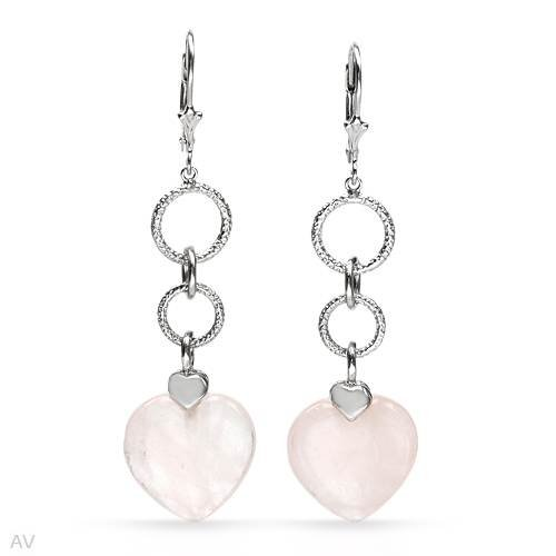 Sterling Silver 10.5 CTW Quartz Heart Ladies Earrings. Length 57 mm. Total Item weight 6.2 g.