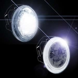 "3"" INCH UNIVERSAL MOTORCYCLE FOG & DRIVING LIGHTS W/ LED WHITE HALO ANGEL EYE"