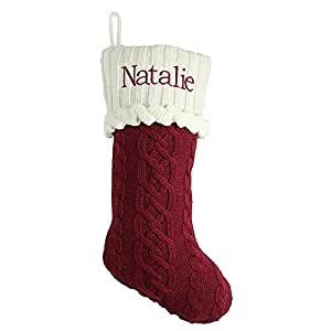 Cable Knit Christmas Stocking Pattern : Amazon.com - Personalized Christmas Gifts Cozy Cable Knit Stocking - Red