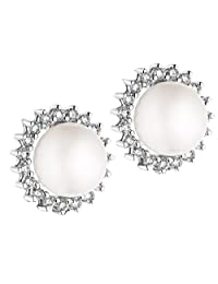 Akruti Creations White Silver Plated Stud Earring For Women