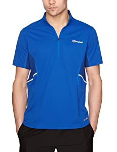 Berghaus Men's Active Short Sleeve Zip Baselayer - Extreme Blue/Limoges, Large