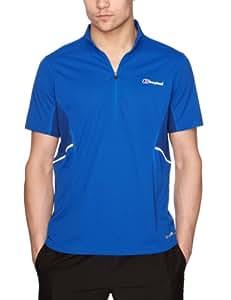 Berghaus Men's Active Short Sleeve Zip Baselayer - Extreme Blue/Limoges, Large