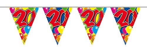 Wimpelkette 10m Zahl 20 Jahre Geburtstag Deko Party Girlande