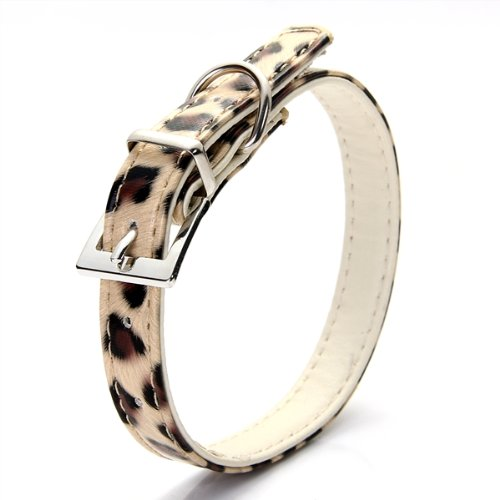 Collare Regolabile in PU Cuoio Oro Leopardato per Cani Gatti Taglia XS