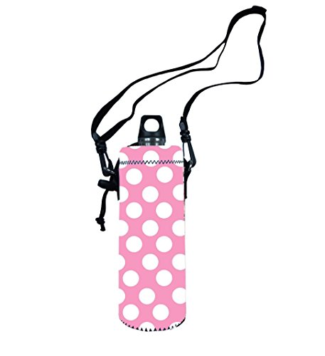 Colorfulbags® Hot Selling New Pink With White Dot 750Ml (750 Milliliter) Sport Water Bottle Case Cover Sleeve Bag Wide Mouth Insulated Pouch Holder With Shoulder Strap front-25834