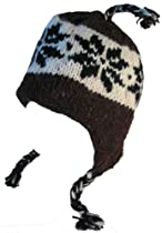 Wool Winter Beanie Fleece Lined Cap Ear Flaps (BROWN / WHITE - BLACK SNOWFLAKE)