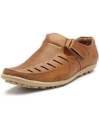Stylemint Men Black Leather Sandals