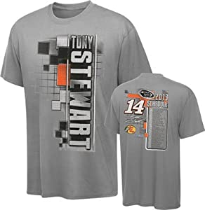 Buy NASCAR Stewart Haas Racing Tony Stewart #14 Mobil One Grey 2013 Schedule Starter T-Shirt by Checkered Flag