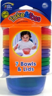 The First Year'S Learning Curve Take & Toss Bowls With Lids 8 Oz., 6-Count (3-Pack) front-1023310