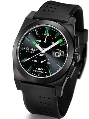 Locman Mens Stealth Watch Ceramic PVD Coating Black/Green 202BKPVBKGRBK