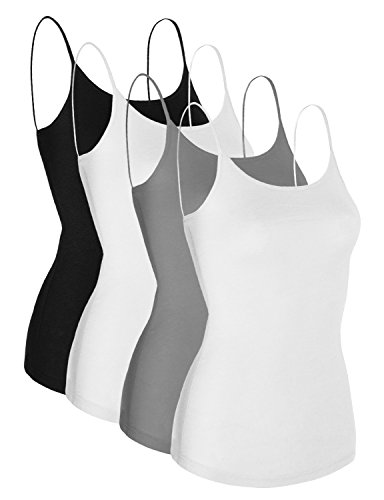 Mabssi Women's Basic Casual Camisole Cami Tank Top 4 Pack, Medium