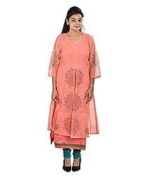 Damyantii Women's Plus Size Orange Color Kurta