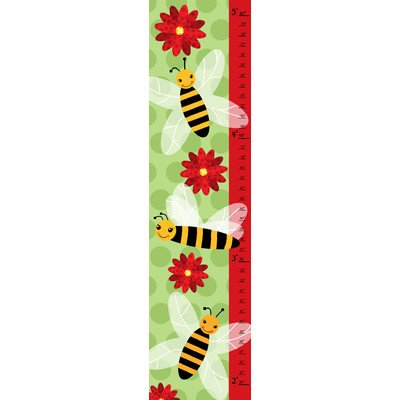 Green Leaf Art Growth Chart, Bees on Green - 1