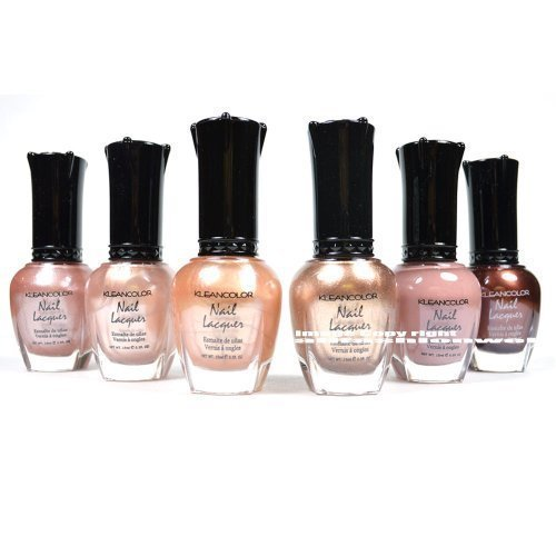Kleancolor Nail Polish Natural Nude Beige Colors Lot of 6! Lacquer Collection + Free Earring Gift (Natural Colors Nail Polish compare prices)