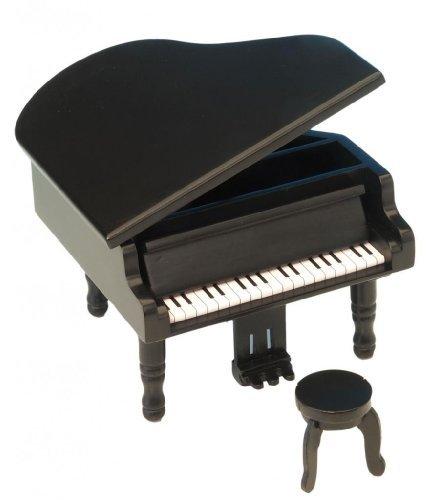 Le Monde de la Boîte à Musique - Piano à queue avec tabouret, en bois noir - En ouvrant le couvercle la mélodie «Pour Elise» retentit - Profondeur 145 mm