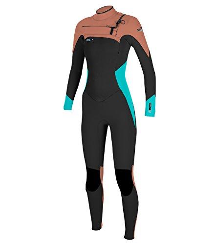 O'Neill Wetsuits Women's 4/3 mm Superfreak F.U.Z.E. Zip Full Suit, Size 10, Black/Aqua/Grapefruit