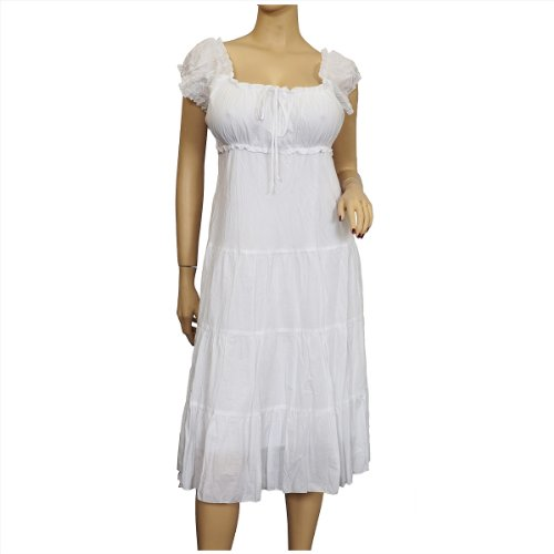 Plus Size White Cotton Empire Waist SunDress - 2X