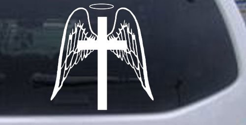 6in X 5.8in White -- Angel Wings Cross Halo Christian Car Window Wall Laptop Decal Sticker