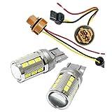 T20 LED ダブル ハイパワーSMD21連 キャンセラー内蔵 プロジェクターレンズ搭載 白/橙2個 ★新ダブルソケット2個付 T20 アンバー
