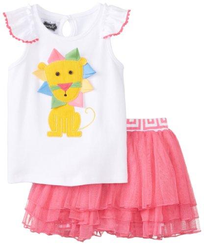 Mud Pie Little Girls' Lion Skirt Set, Pink, 3T front-545783