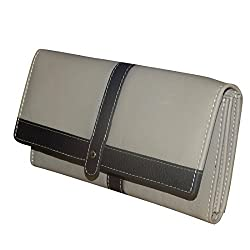 Style98 Beige & Black Leather Wallet for Girls