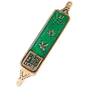 Mezuzah Peace in Three Languages Green Enamel
